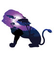 african night with lion vector image vector image