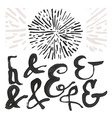 Ampersand set and a sunburst vector image vector image