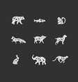 animals floral graphic silhouettes black vector image