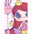 anime cute girl balloons rabbit squirrel chickens vector image