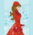 beautiful girl on winter shopping vector image