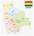 bolivia administrative map with flag vector image