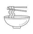 bowl of noodles line icon vector image vector image