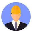 builder male head wearing a helmet vector image