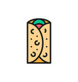 burrito mexican dish fast food flat color line vector image