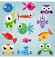 Cartoon sea fish set vector image