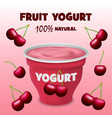cherry fruit yogurt concept background realistic vector image