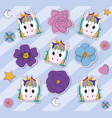 cute unicorns and flowers background vector image vector image