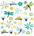 dragonfly seamless floral pattern vector image