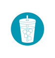 drinks beverage cold with ice cubes and straw blue vector image vector image