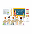 english lesson at school - cartoon people vector image