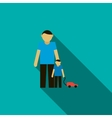 Father and son icon flat style vector image vector image