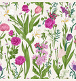 floral seamless pattern pink garden flowers vector image vector image