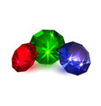 gems colored diamonds on a white background vector image vector image