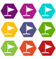 golf flag icon set color hexahedron vector image vector image
