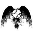 grunge tennis with wings vector image vector image