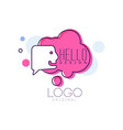 hello logo original design pink badge with hello vector image vector image