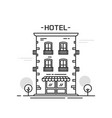 hotel building line outline cartoon style vector image