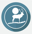 icon deer on white circle with a long shadow vector image vector image