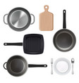 kitchen utensils top view vector image