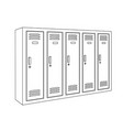 lockers outline drawing vector image vector image