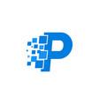 logo letter p blue blocks cubes vector image
