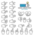 modern linear design hand icons and vector image vector image