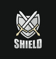 modern shield and sword logo vector image vector image