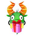 monster holding present on white background vector image vector image