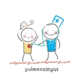 pulmonologist listens to the patient lungs vector image vector image