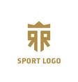 rr logo r r initial logo with crown elegant vector image