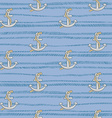 Seamless pattern with anchors on blue background vector image