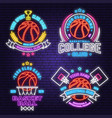 set basketball club neon design or emblem vector image vector image