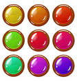 set of bright wooden-plated glossy buttons vector image