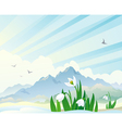 Spring landscape with snowdrops vector image vector image