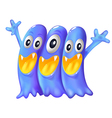 Three playful blue monsters vector image vector image