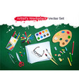 top view artist workplace set vector image vector image