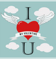 valentine39s day flying heart love design vector image vector image