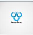 wave drop with digital concept logo icon element vector image vector image