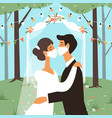 wedding in masks bride and groom kiss vector image vector image