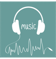 White headphones with cord in shape of cardiogram vector image vector image