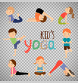 yoga kids set on transparent background vector image vector image