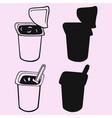 yogurt cup silhouette vector image