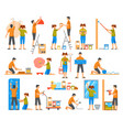 home renovation flat color decorative icons vector image