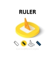 Ruler icon in different style vector image