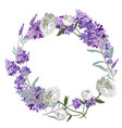 lavender and peony round frame template vector image