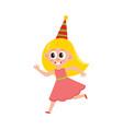 flat girl kid in funny hat running vector image