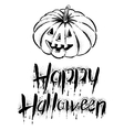 The pumpkin with text -Happy Halloween vector image