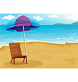 A beach with a relaxing wooden chair under an vector image vector image