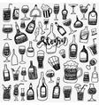 alcohol bottles doodles vector image